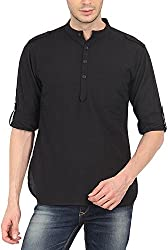 Svanik Men's Cotton Kurta (SVCK1359L, Black, L)