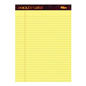 TOPS Docket Gold Writing Tablet, 8-1/2 x 11-3/4 Inches, Perforated, Canary, Legal/Wide Rule, 50 Sheets per Pad, 12 Pads per Pack (63950)