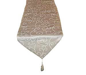 35cm x 152cm Cream Damask Table Runner