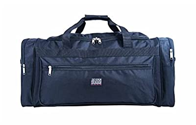 Large Black Travel Sports Cargo Holdall Overnight Bag With Multiple Pockets With Shoulder Strap: 66cm x 31cm x 31cm