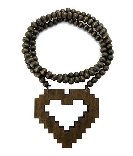 "Pixelated Heart Wood Pendant 36"" Wooden Bead Chain Necklace in Brown-Tone WJ159BRN"