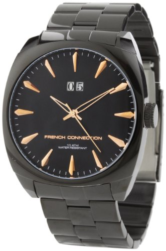 French Connection Men's FC1044B Classic Stainless Steel Ion-Plating Black Round Case Watch