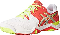 ASICS Women\'s Gel-Challenger 10 Tennis Shoe,White/Hot Coral/Silver,9.5 M US