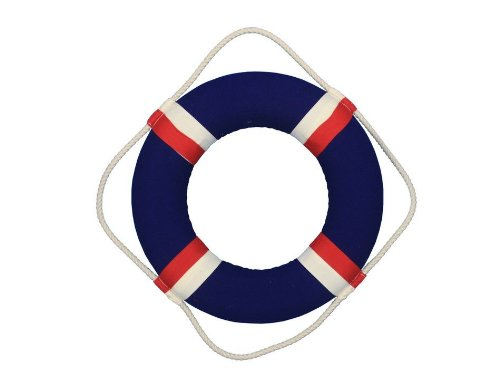 "Handcrafted Nautical Decor Decorative Blue Jacket Lifering, 15"" front-1046665"