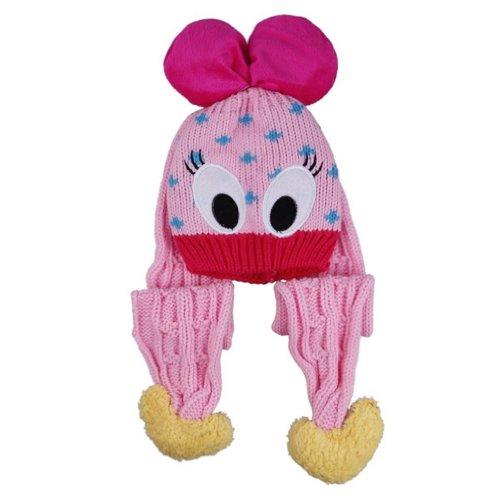 (ポラリス) Polaris 1-5歳赤ちゃんベビーウールカシミヤ耳あて ニット帽子キャップハットキッズ可愛いアヒルデザイン冬保温防寒能力一流(4色選べます) (4ピンク(2))