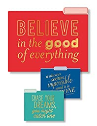 Eccolo World Traveler Set of 9 File Folders, Believe In Good Inspirations (T617D)