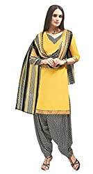 Manthan Yellow Printed Un-Stitched Patiyala Suit