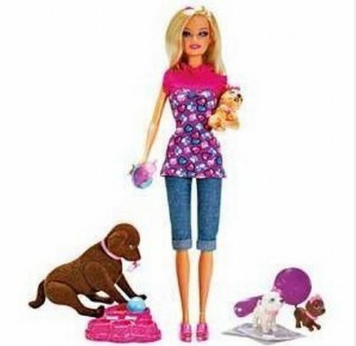 New Girls Gift Barbie Brown Taffy Dog And 3 Puppies Playset Accessories Girl Doll Toy New