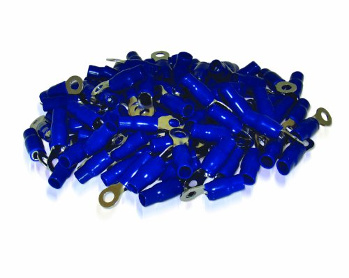 XS Power RT4L-BL-100PK 10.5mm Screw Hole Nickel Finish 4 AWG Crimp Terminal with Blue Boot, (Pack of 100)