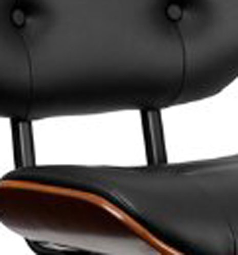 Flash Furniture Walnut Bentwood Adjustable Height Barstool with Button Tufted Black Vinyl Seat
