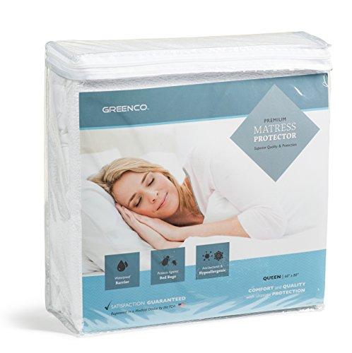 greenco-premium-hypoallergenic-waterproof-mattress-protector-vinyl-free-queen