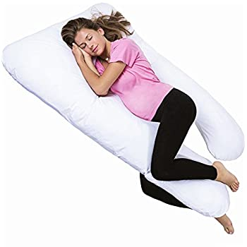 PharMeDoc Total Body Hypoallergenic Pillow - U Shaped - With Detachable Extension - Comfortable Maternity Pregnancy Cushion - Snuggler With Zipper – Pressure Relieving Contoured Support System