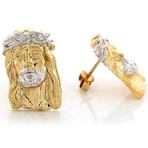 14k Two Tone Gold 1.88cm X 1.24cm Jesus Christ King of King Christian Post Earrings