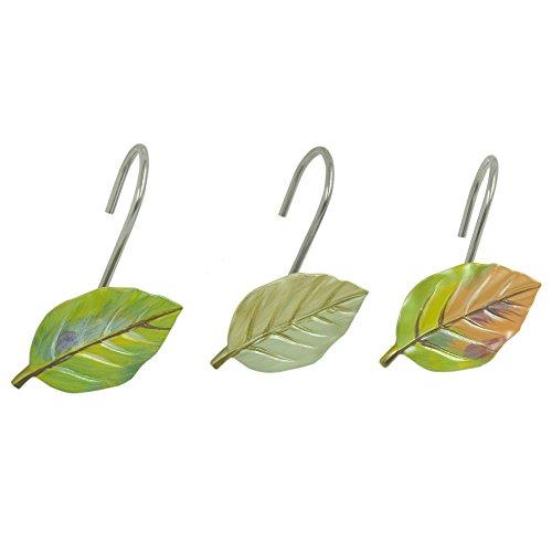 Bacova Guild Shower Curtain Hooks, Waterfalls Leaves (Leaf Shower Curtain Hooks compare prices)