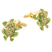 JJ Weston gold plated frog cufflinks with enamel highlighting. Made in the U.S.A