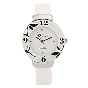 Addic Circular Dial White Strap Dial Watch For Women