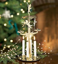 Spinning Angel Chimes Candle Holder, In Brass