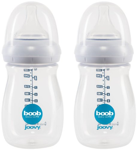 Joovy Boob PP Baby Bottle, Clear, 9 Ounce, 2 Count
