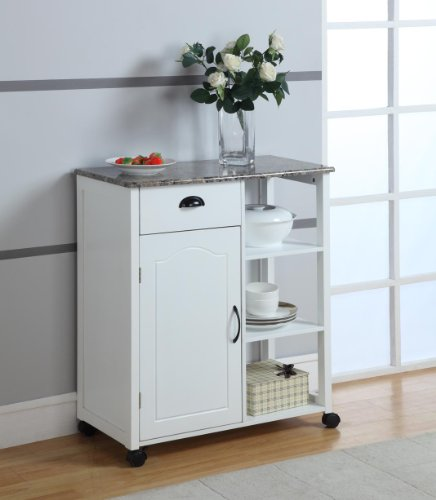 Image of White Finish Wood & Marble Vinyl Top Kitchen Storage Cabinet Cart (R1020)