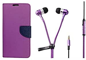 Novo Style Wallet Case Cover For Apple iPhone 5 Purple + Zipper Earphones/Hands free With Mic 3.5mm jack