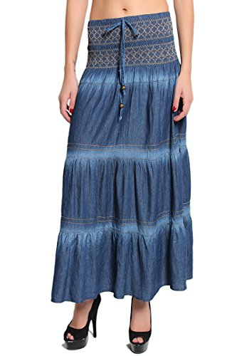 TheMogan Women's Tiered Cotton Denim A-line Maxi Skirt - Medium - ONE SIZE