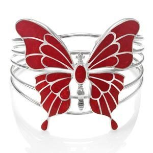 Coral Butterfly Hallmarked Sterling Silver Bangle