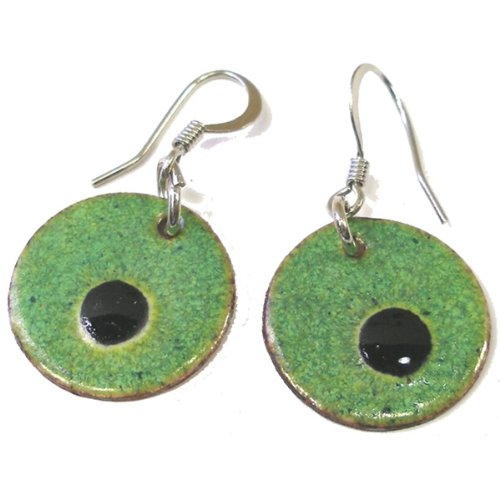 Global Crafts CGJ2RO-6-225035 Round Enamel on Copper Earrings- Alien Eyes- Chile