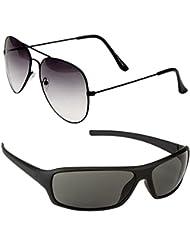 Unisex Uv Protected Combo Pack Of Aviator Sunglasses And Wrap Around Sunglasses ( Black Shd Black - Black Wrap...