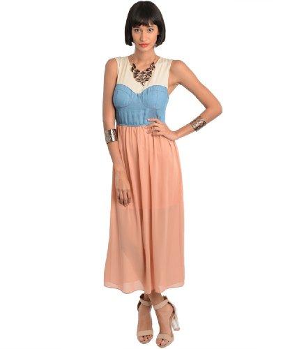 2Luv Women'S Contrast Denim Empire Waist Dress Peach S(D1520)