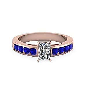 0.90 Ct Radiant Cut Diamond And Sapphire Engagement Ring 14K Gold GIA Certified (H Color, VS1 Clarity)