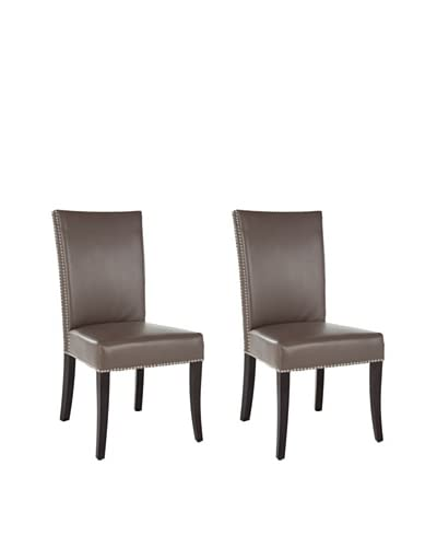 Safavieh Set of 2 Brewster Leather Side Chairs, Clay