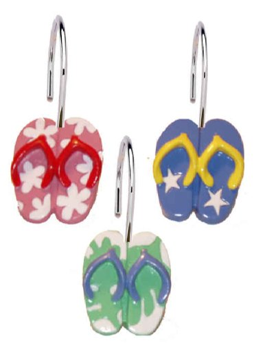 12-Piece-Flip-Flops-Resin-Shower-Curtain-Hooks-Set