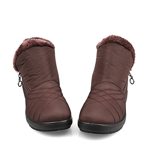 GIY Women Fashion Ankle High Fur Lining Snow Boots Platform Waterproof Warm Winter Bootie Slipper Shoes (Women Crock Boots compare prices)