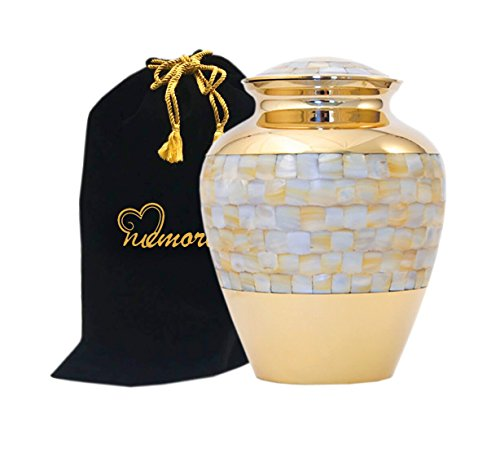 Elite Mother of Pearl Cremation Urn by Memorials4u for Human Ashes - Adult Funeral Urn Handcrafted and Engraved - Affordable Urn for Ashes - Large Urn Deal (Urns Funeral compare prices)