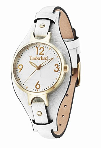 Timberland Deering Women's Quartz Watch with Silver Dial Analogue Display and White Leather Strap 14203LSG/01