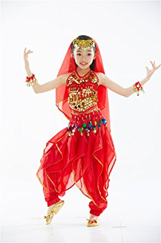 Dreamspell Belly Dance Suit for Children/Kids Hot Red 4 Pieces(L Size)