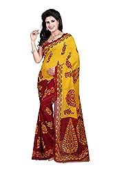 Bansy Fashion Yellow Coloured Faux Georgette Printed Saree/Sari