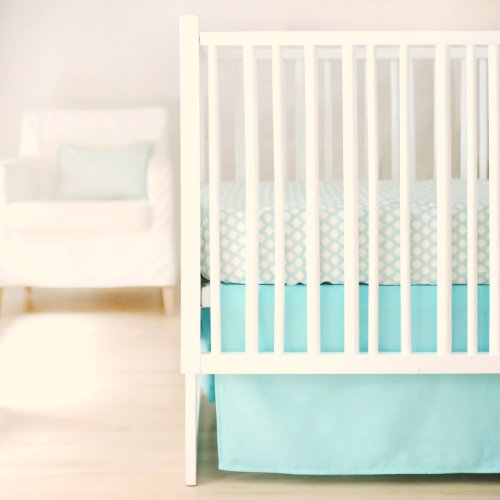 New Arrivals Sweet and Simple Crib Bedding Set, Aqua, 2 Piece