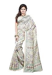 Bansy Fashion Beige Coloured Art Silk Printed Saree/Sari