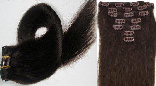 Clip-In-Extensions für komplette Haarverlängerung - hochwertiges Remy-Echthaar - 70g - 38 cm -7tlg- Nr. 2 Darkest Brown