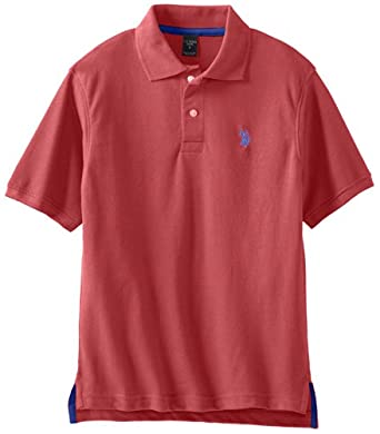 U.S. Polo Assn. Boys 8-20 Classic Small Pony Short Sleeve Pique Polo, Barn Red Heather, 8