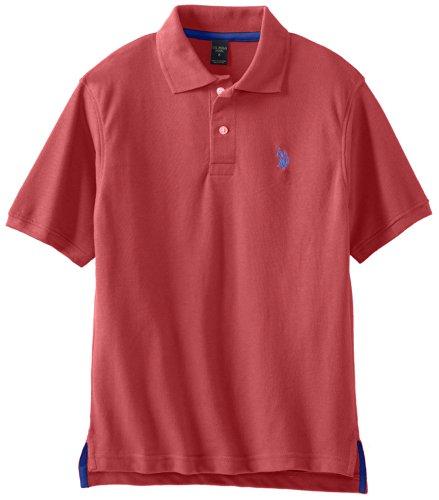 U.S. Polo Assn. Big Boys' Classic Small Pony Short Sleeve Pique Polo, Barn Red Heather, 10/12
