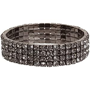 Four Tier Swarovski Element Stretch Crystal Bracelet (Black Diamond)
