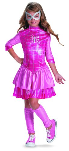 Disguise Marvel Classic Spider-Girl Shimmer Deluxe Girls Costume, 10-12, Pink