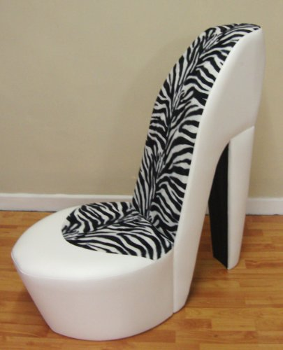 WHITE STILETTO / SHOE /HIGH HEEL CHAIR ZEBRA FAUX FUR