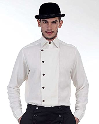Victorian Men's Clothing Steampunk Victorian Costume Ulysses Side-Button Shirt  AT vintagedancer.com