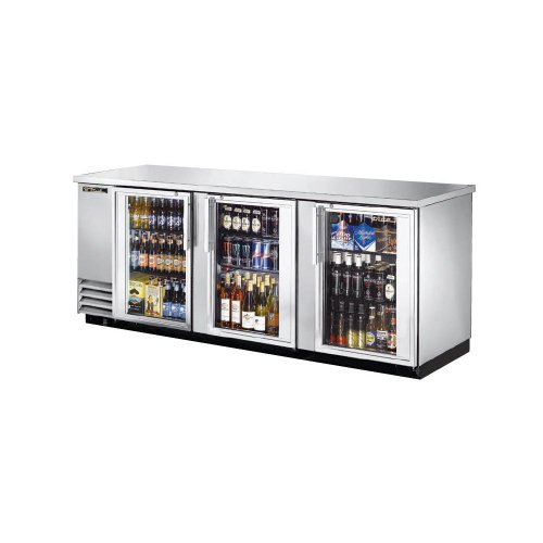 True Stainless Steel 3-glass Door Back Bar Cooler F/ 209 6-packs - TBB-4G-S