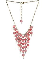 Fashionlodgge Imitation Jewellery Pyramid Designed Light Pink Pearl Chain Set