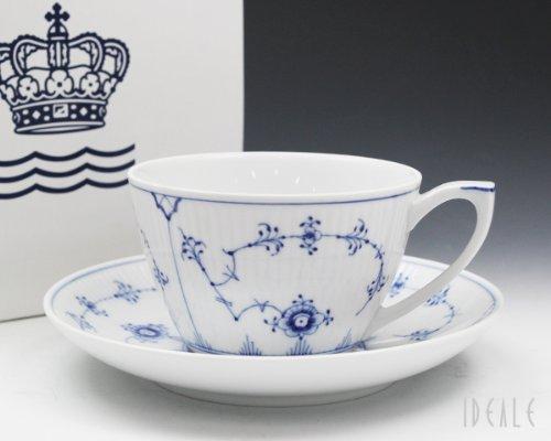 ロイヤルコペンハーゲン(Royal Copenhagen) 101 ブルーフルーテッド・プレイン 086 ティー カプチーノカップ&ソーサー 280ml 【並行輸入品】
