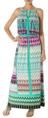 London Times Abstract Print Keyhole Maxi Dress 12 Multi